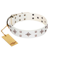 """The Milky Way"" FDT Artisan White Leather Mastiff Collar Adorned with Stars and Tiny Squares"