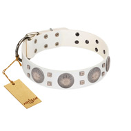 """Mighty Shields"" FDT Artisan White Leather Mastiff Collar with Chrome Plated Shields and Square Studs"