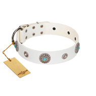 """Lush Life"" Designer Handcrafted FDT Artisan White Leather Mastiff Collar with Blue Stones"