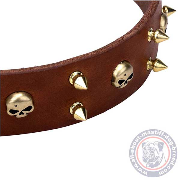 Soft and gentle to skin brown leather dog collar