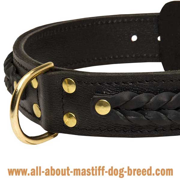 Non-Toxic Braided Leather Bullmastiff Collar