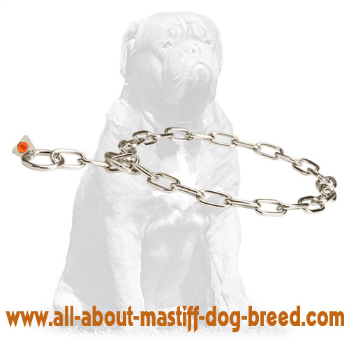 Choke dog collar with fur saving links