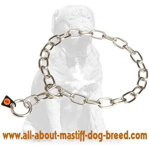 Easy in use choke chain dog collar with O-rings