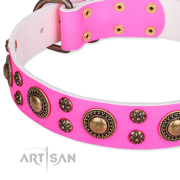 Easy to adjust leather dog collar with extra strong durable buckle and D-ring