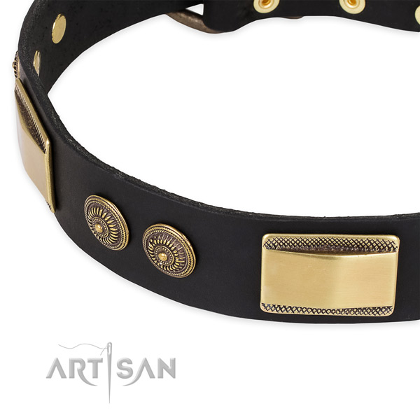 Everyday use full grain genuine leather collar with durable buckle and D-ring