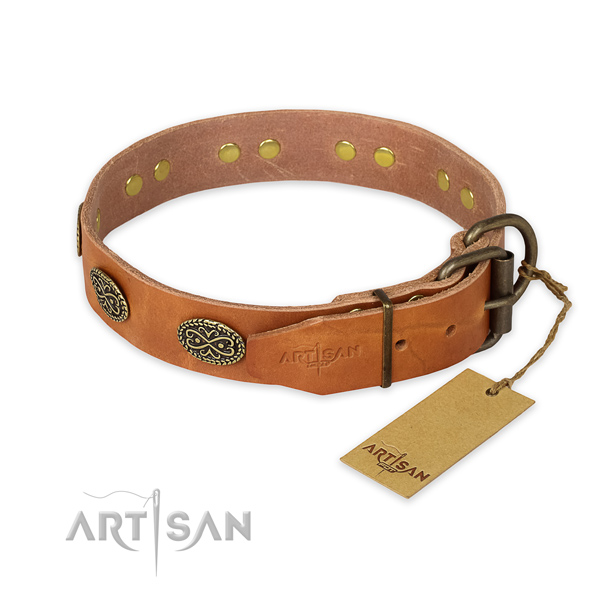 Handy use full grain natural leather collar with studs for your canine