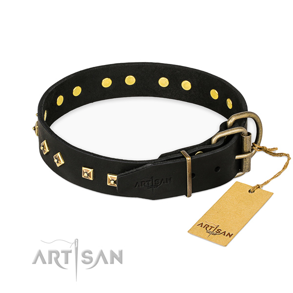 Everyday use natural genuine leather collar with adornments for your dog