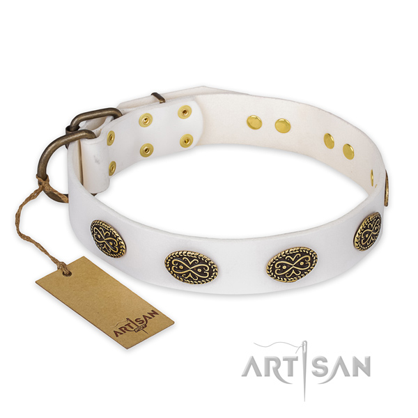 Significant design adornments on natural genuine leather dog collar