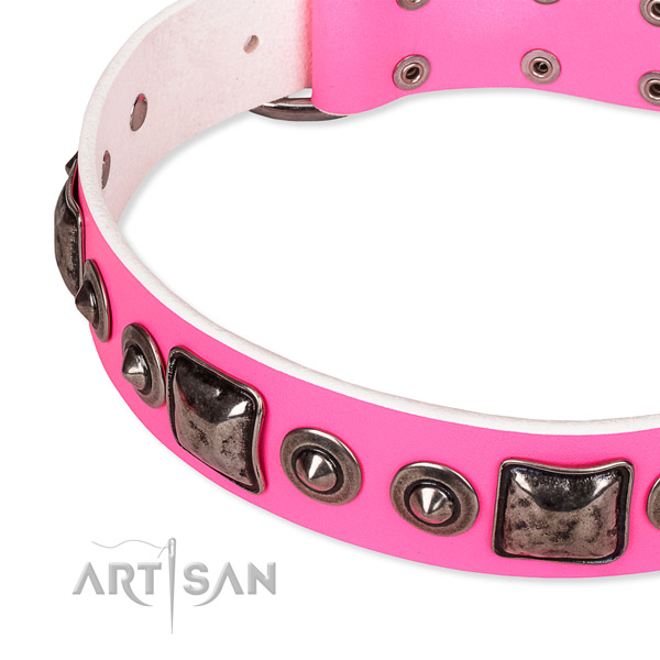 Adjustable pink leather dog collar with resistant brass plated hardware