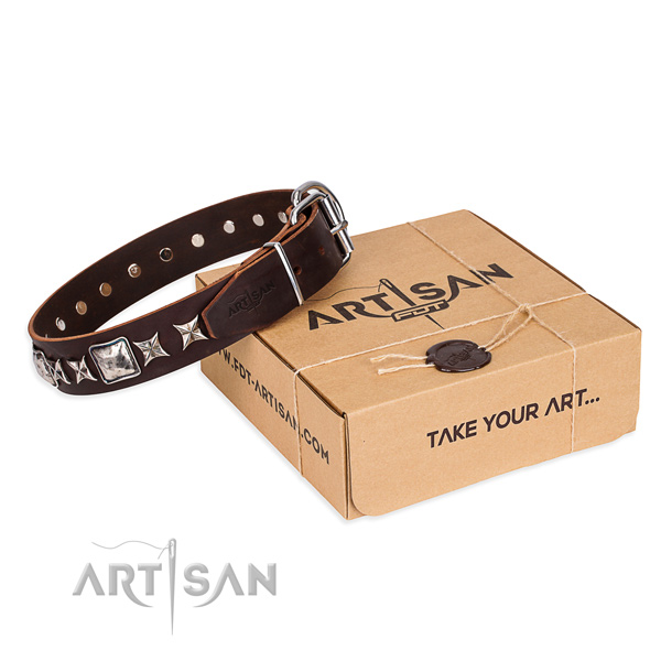 Best quality natural genuine leather dog collar for everyday walking