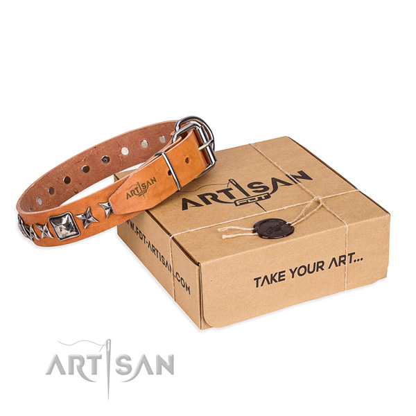 Awesome natural genuine leather dog collar for walking