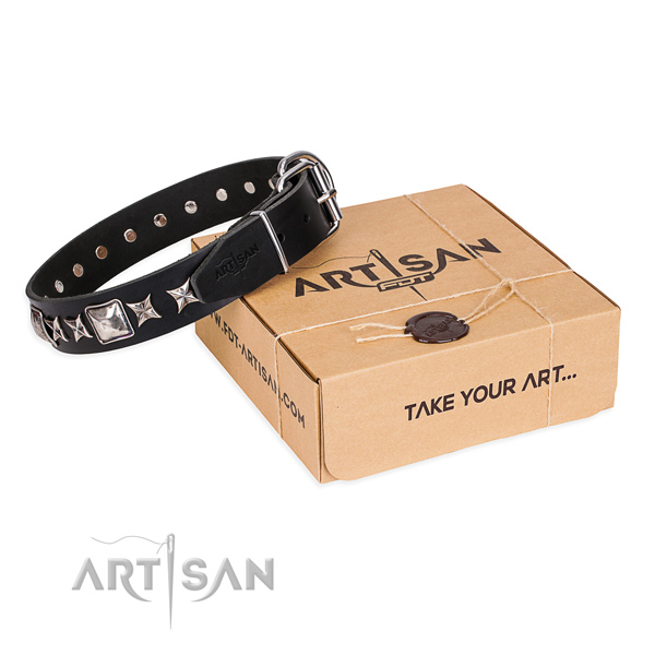 Incredible full grain natural leather dog collar for daily use