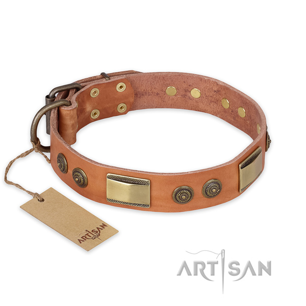 Fashionable design studs on natural genuine leather dog collar