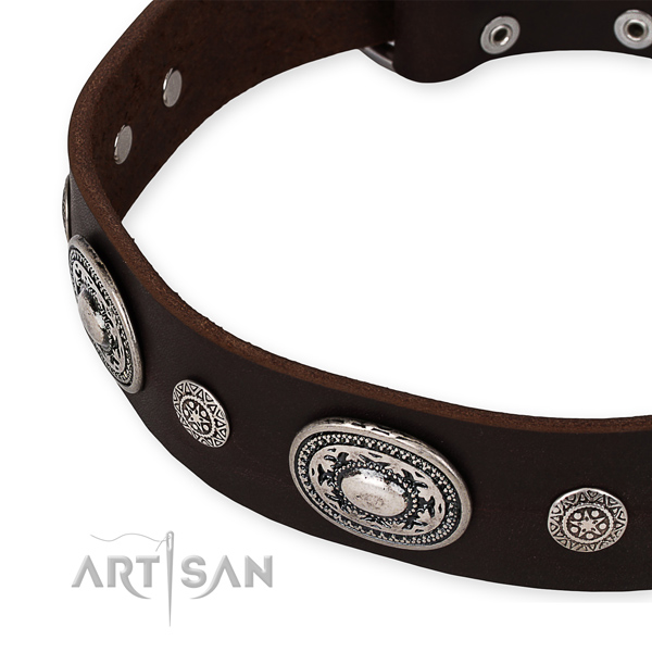 Easy to use leather dog collar with almost unbreakable rust-proof set of hardware