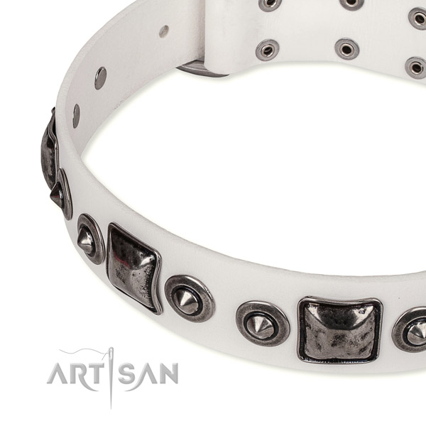 Adjustable leather dog collar with almost unbreakable non-rusting buckle