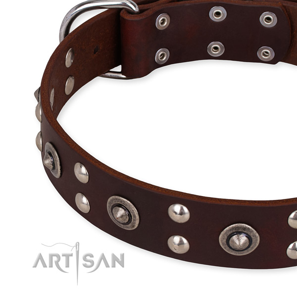 Easy to put on/off leather dog collar with extra strong rust-proof set of hardware