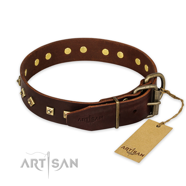 Everyday walking natural genuine leather collar with studs for your dog