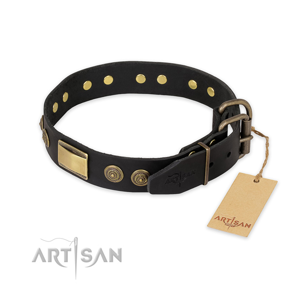 Daily use genuine leather collar with adornments for your canine