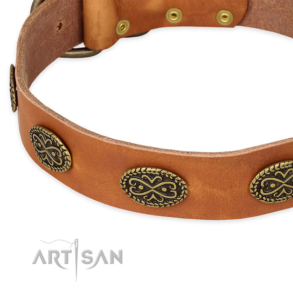 Easy to adjust leather dog collar with extra sturdy non-rusting buckle