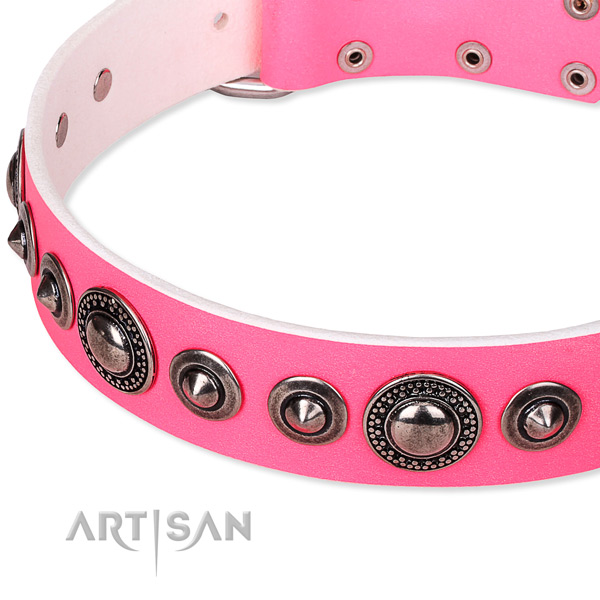 Easy to put on/off leather dog collar with resistant to tear and wear non-rusting set of hardware