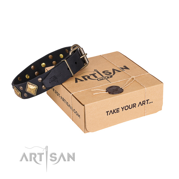 Stylish natural genuine leather dog collar for walking in style