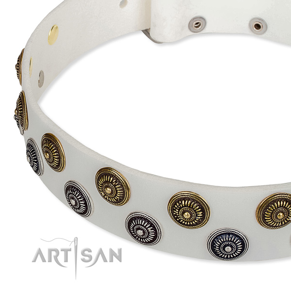 Easy to put on/off leather dog collar with resistant to tear and wear non-rusting hardware