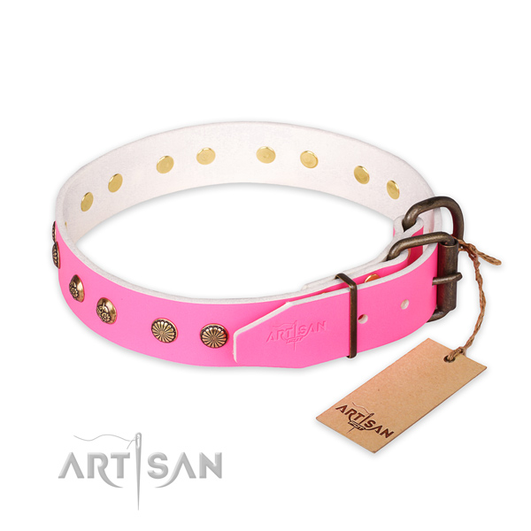 Inimitable design decorations on leather dog collar