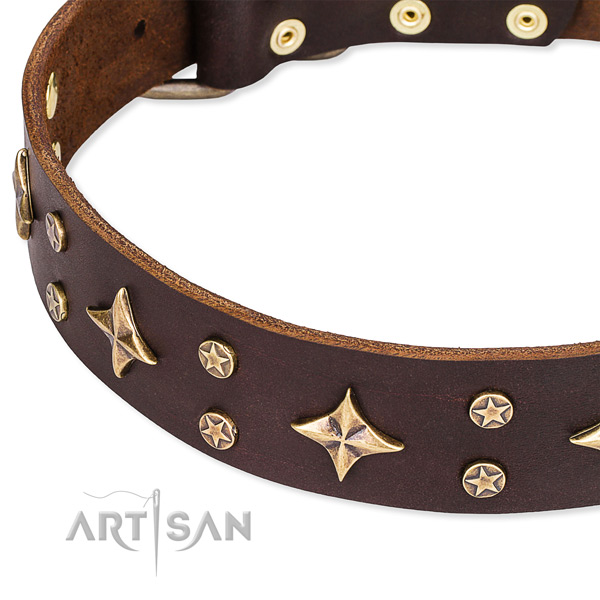 Easy to put on/off leather dog collar with almost unbreakable non-rusting set of hardware