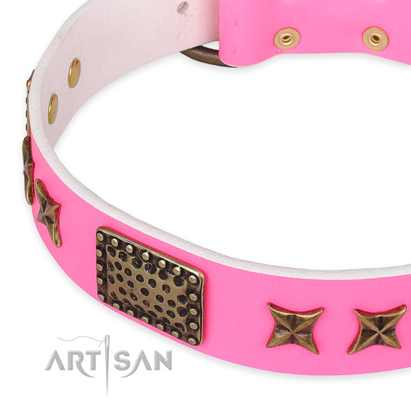 Easy to adjust leather dog collar with extra sturdy durable hardware