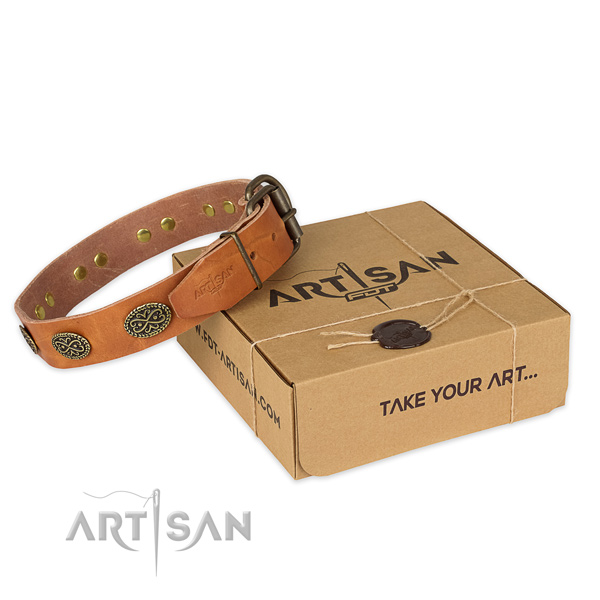 Perfect fit natural genuine leather dog collar for daily use
