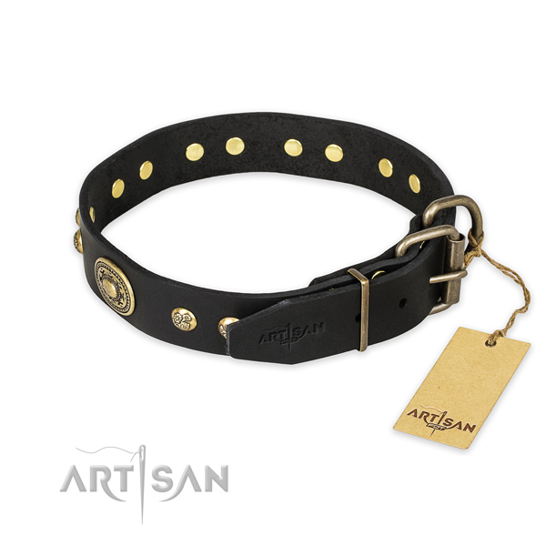 Daily use full grain genuine leather collar with adornments for your four-legged friend
