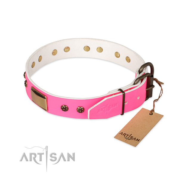 Daily walking genuine leather collar with embellishments for your doggie