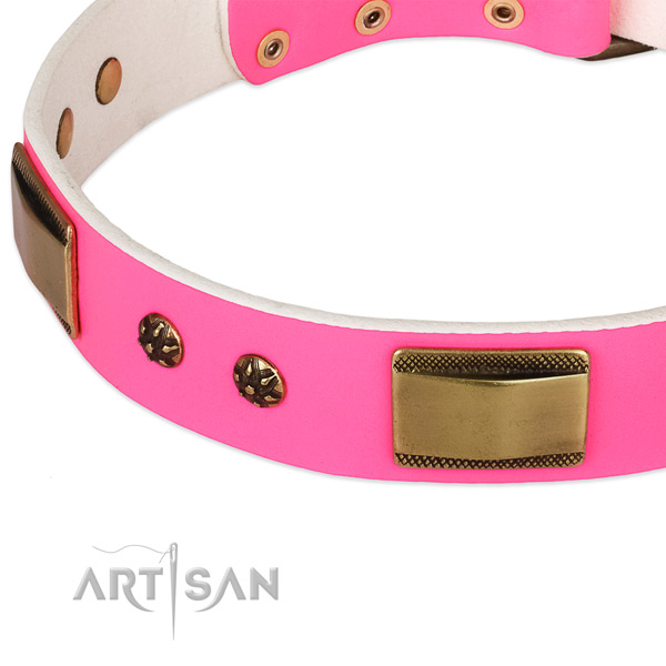 Everyday use natural genuine leather collar with durable buckle and D-ring