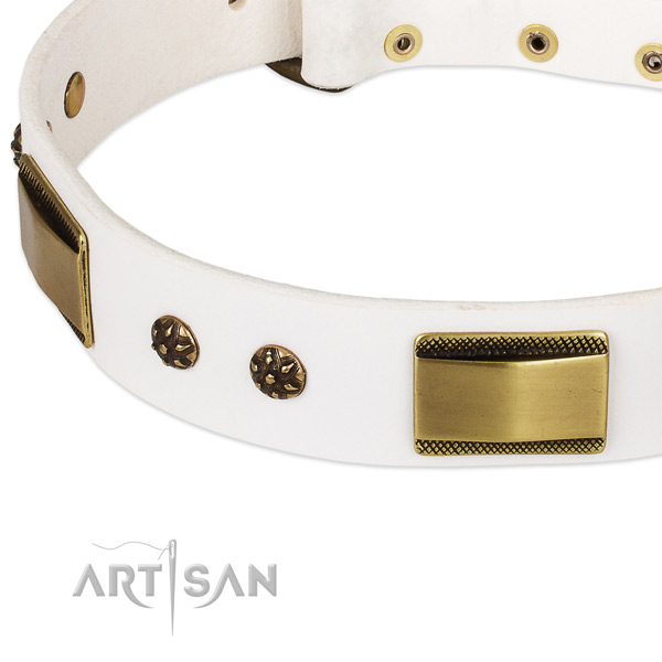 Handy use full grain leather collar with corrosion resistant buckle and D-ring