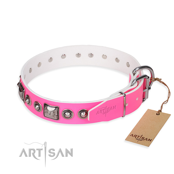 Practical pink leather collar for your handsome canine
