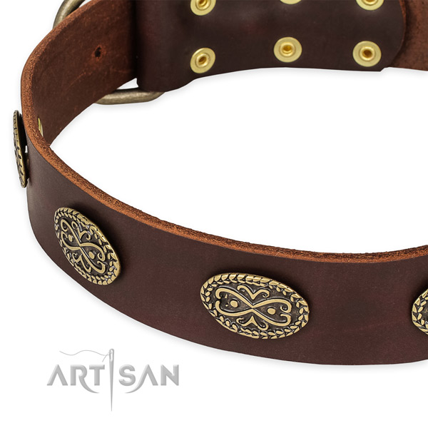 Easy to use leather dog collar with extra sturdy durable hardware
