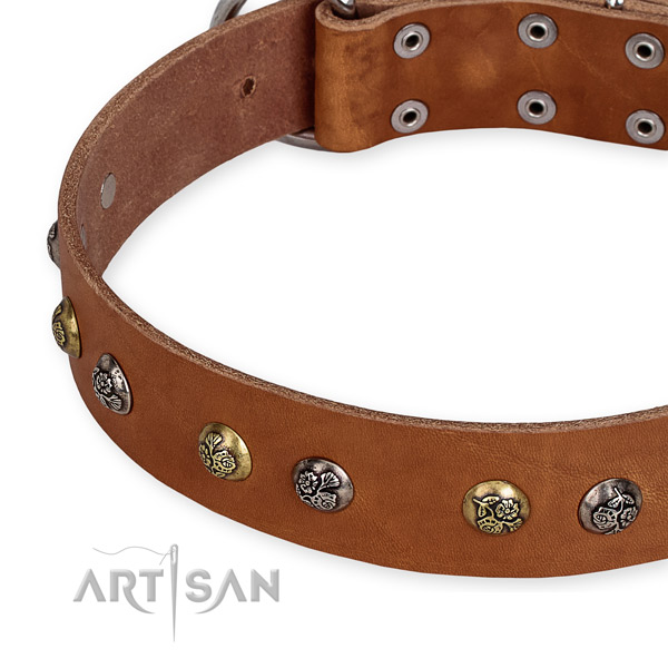 Adjustable leather dog collar with resistant to tear and wear non-rusting buckle and D-ring