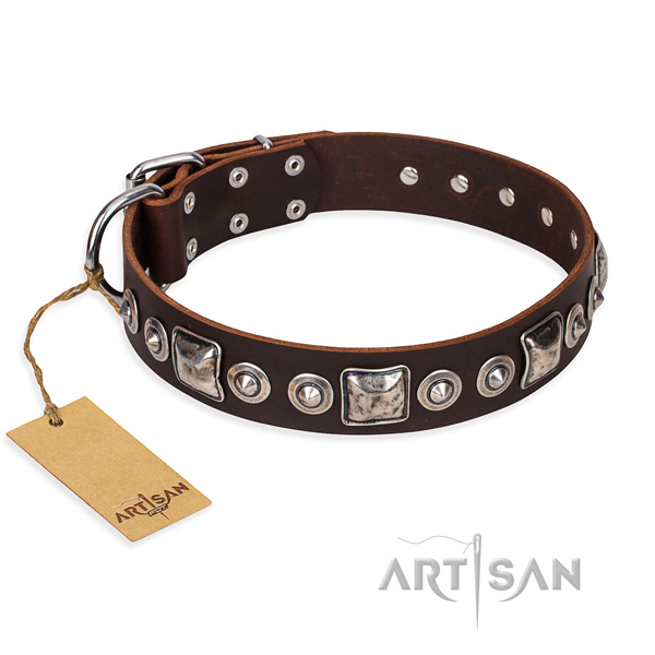 Strong leather dog collar with corrosion-resistant hardware