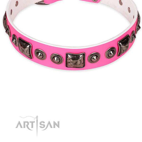 Long-wearing pink leather dog collar with corrosion-resistant fittings