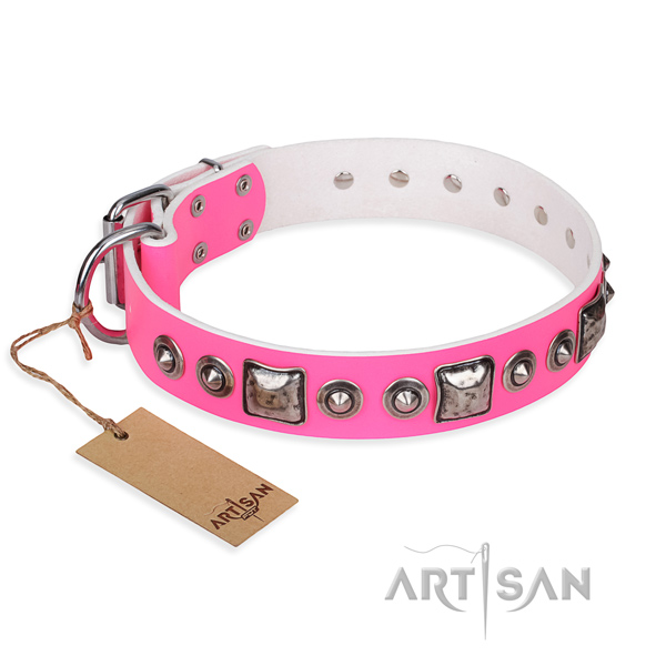 High quality pink full grain leather dog collar for walking in style