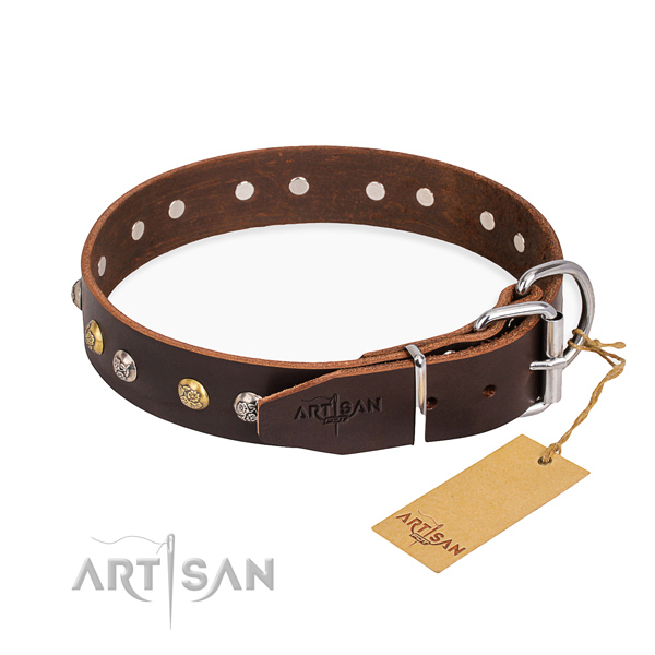 Practical leather collar for your elegant pet