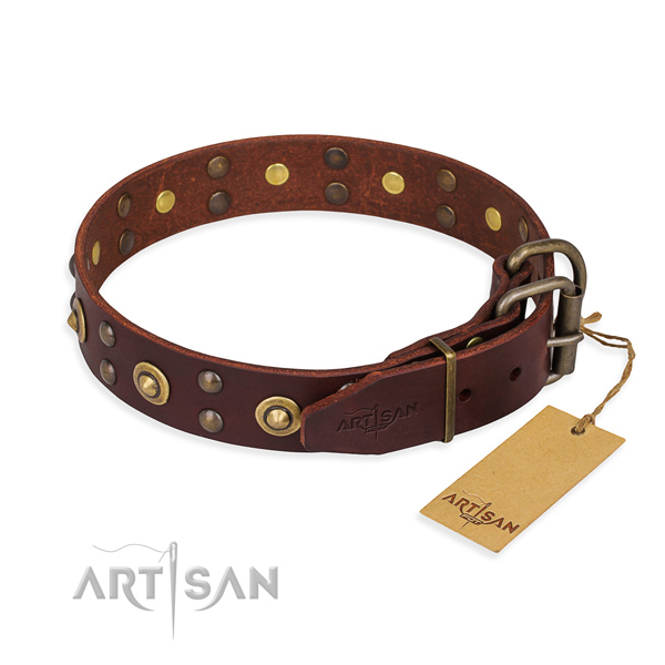 Daily use genuine leather collar with decorations for your canine
