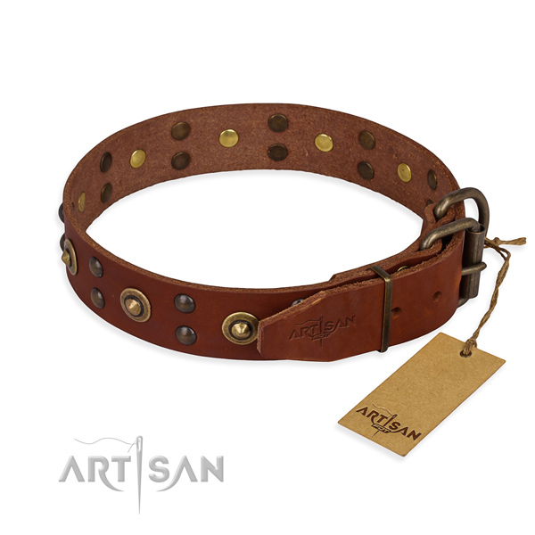 Daily walking genuine leather collar with decorations for your canine