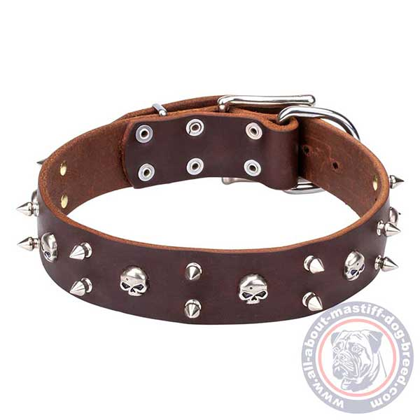 Soft brown leather dog collar