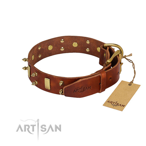 Genuine leather dog collar with smoothly polished surface