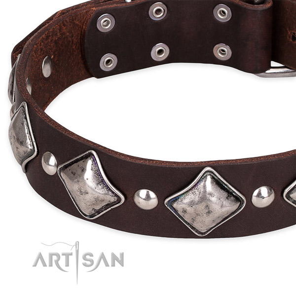 Easy to put on/off leather dog collar with resistant to tear and wear non-rusting fittings