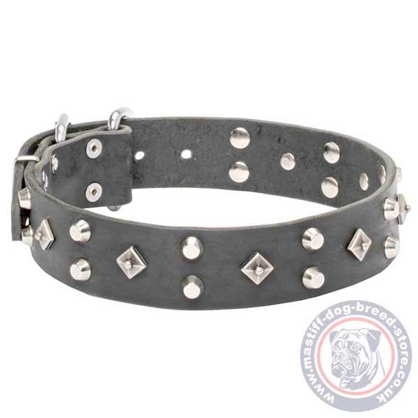 Adjustable black leather dog collar