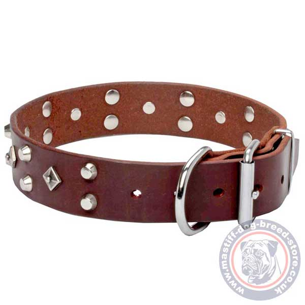 No-rubbing brown leather dog collar