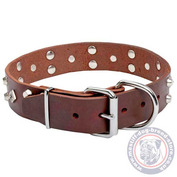 Strong brown leather dog collar