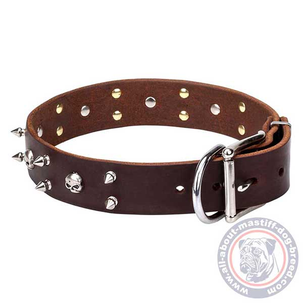 Brown leather dog collar with sturdy hardware